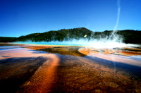 Grand Prismatic Spring -  Midway Geyser Basin with small tornado